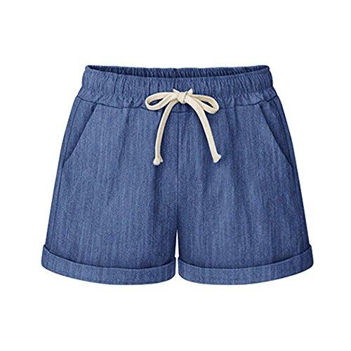 Yknktstc Womens Plus Size Elastic Waist Cotton Linen Casual Beach Shorts with Pockets X-Large Denim Blue