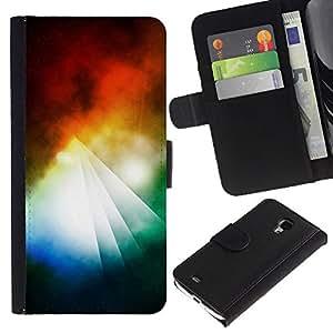 KingStore / Leather Etui en cuir / Samsung Galaxy S4 Mini i9190 / Pirámide abstracto colorido