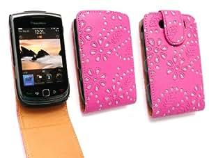 Emartbuy Blackberry 9800/9810 Antorcha Diamante Premium Cerise Rosa / Tan Flip Case / Portada / Bolsa