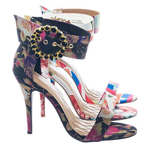 Rhinestone Print Floral (colorful Satin High Heel Dress Sandal w Rhinestone Crystal Buckle)
