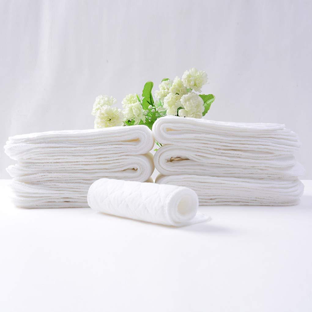 Bomcomi 10PCS r/éutilisables Couches pour b/éb/és Couches Lavables Inserts 1 pi/èce 3 Couche Insert 100/% Coton Lavable Baby Care Products
