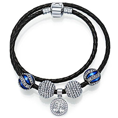 Price comparison product image MANBARA Women's Bangle Black Leather Bracelet with Blue Enamel Charm,Life of Tree Pendant,Leather Jewelry