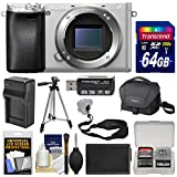 Sony Alpha A6300 4K Wi-Fi Digital Camera Body (Silver) with 64GB Card + Case + Battery & Charger + Tripod + Strap + Kit