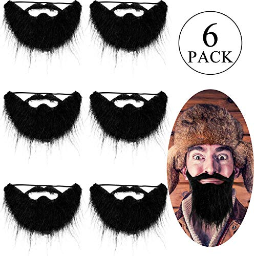 6 Pieces Funny Costume Beard Black Fake Beard Costume Funny Halloween Mustache Costume for Funny Mustache Costume Party Fiesta Party Supplies Halloween Accessories