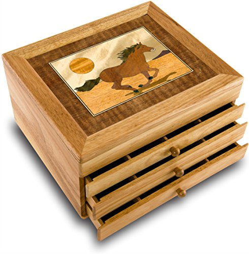 MarqART Horse Wood Art Jewelry Box & Gift - Handmade USA - Unmatched Quality - Unique, No Two are The Same - Original Work of Wood Art (#7016 Mustang 3 Drawer)