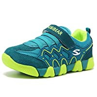 HOBIBEAR Kids Outdoor Sneakers Strap Athletic Running Shoes Green