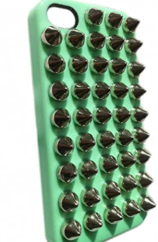 DIY Punk Style Mobile Phone Protective Skin for iPhone 5 Skin with Studs and Spikes Green Silver (Iphone 5 Cases Spike)