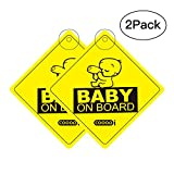 Baby On Board Sticker Car Sign, COOODI Kids On Board Vehicle Car Window Warning Safety Suction Sticker for Smart Parents, Unobstructed View, Stays On, Removable And Will Not Fade