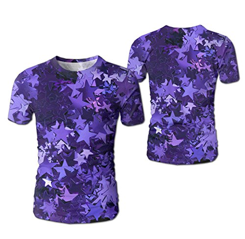 - Unisex Men 3D Printed purple foil stars Casual Summer Short Sleeve Tees