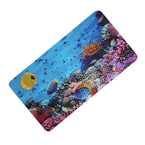 FEIDOL Non Slip Baby Bath Mat with Suction Cups for Tub, Shower, Natural PVC, Mildew Resistant, 28 x 15 Inch, Cute Pattern Design, Bathtub Mat for Kid (Ocean World)
