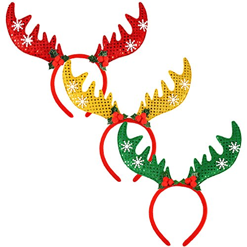 Aneco 3 Pack Christmas Reindeer Antlers Headband Cute Antlers Headbands Xmas Elk Hairbands for Christmas Party Decoration ()
