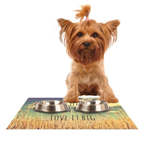 Kess InHouse Alison Coxon Life  Feeding Mat for Pet Bowl, 18 by 13
