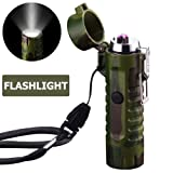 Waterproof Lighter USB Plasma Lighter Rechargeable Electric Lighter Waterproof with Flashlight Flameless Windproof Arc Lighter for Outdoor Camping Hiking (Cool Camouflage) (Color: Cool Camouflage, Tamaño: 1.9 x 1.5 x 3.8 inches)