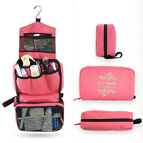 Cute Amelie Hanging Cosmetic Travel Bag. Cute Bag and Name Tag Set.