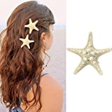 Alonea Hairdressing clips, Women Lady Girls Pretty Natural Starfish Star Beige Hair Clip – DIY Hair Styling (A❤️)