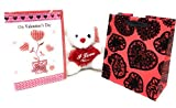 """Ultimate Valentines Day Gift Bundle- 3 Items: 6"""" Plush Teddy Bear Holding Laced """"I Love You"""" Heart, 3D Handmade V-Day Greeting Card & Hallmark Velvet Red Gift Bag"""