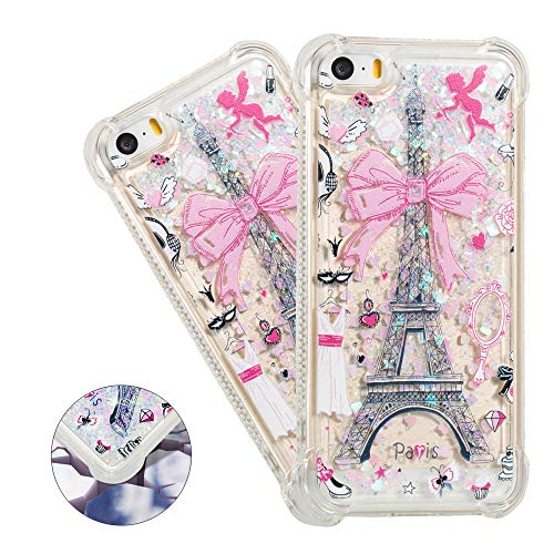 (HMTECHUS iPhone 5S case SE case Cute 3D Pattern Quicksand Diamonds Floating Luxury Shiny Glitter Flowing Liquid Shockproof Protect Silicone Cover iPhone 5 / SE / 5S Bling Eiffel Tower YB)