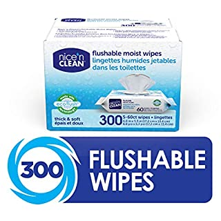 Nice 'n Clean Moist Flushable Wipes (300 Total Wipes) | Made w/ 100% Plant-Based Materials | Infused w/Aloe & Vitamin E | Safe for Septic Systems
