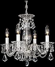 Schonbek 6984CL Swarovski Lighting Minuet Chandelier, Silver