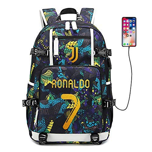 Soccer Player Star Cristiano Ronaldo Multifunction Backpack CR7 Juventus Travel Student Backpack Football Club Fans Bookbag for Men Women Kids (Style 2) (Style 4)