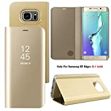 Guran Mirror Leather Case for Samsung Galaxy S6 Edge+ (5.7 inch, G9287) Clear View [Stand Case] Smartphone Flip Cover with PU + PC Inner Shell Smart Phone Cover (Gold)