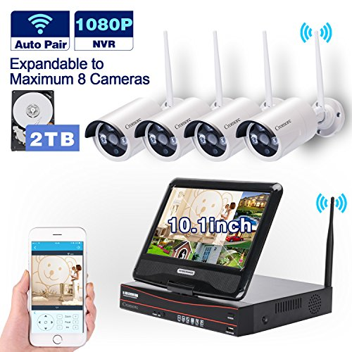 All in one with Monitor[Expandable] Wireless Security Camera System WIFI NVR Kit 8CH 1080P NVR 4pcs 960P Indoor Outdoor Bullet IP Camera IR Night Vision Waterproof Plug and Play with 2T Hard Drive