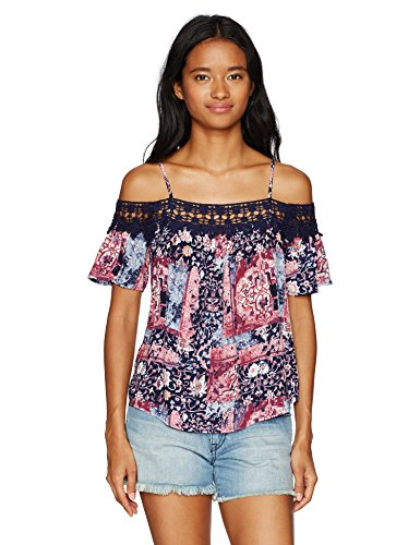 Jolt Women's Printed Cold Shoulder with Crochet Lace Trim, Medium, (Jolt Lace)