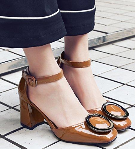 Calaier Femme Salsx Fermé-orteil 6cm Bloc Talon Boucle Sandales Chaussures Marron