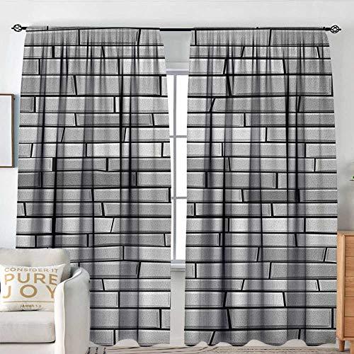"Grey Waterproof Window Curtain Illustration of Brick Wall Contemporary Artprint 3D Style Vision Modern and Shabby Design Energy Efficient, Room Darkening W 120"" XL 72"" Gray"