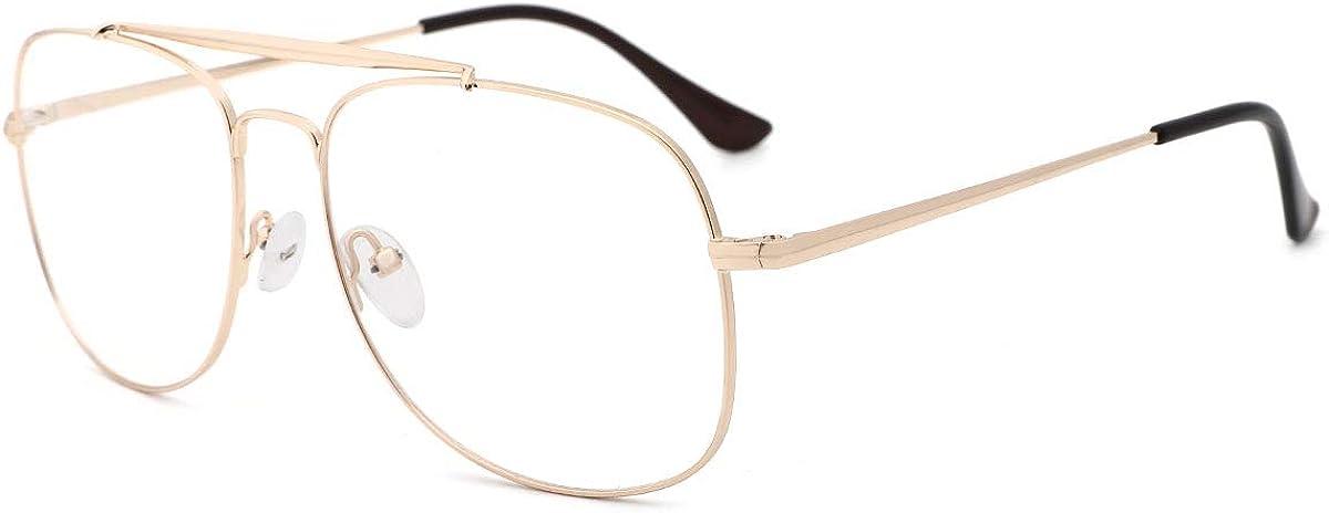 O-Q CLUB Aviator Blue Light Blocking Computer Glasses Retro Pilot Style Glasses for Men Women Reduce Eye Strain
