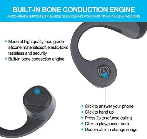 GlobalCrown Casque Conduction Osseuse Bluetooth,Ecouteurs Conduction osseuse sans Fil Oreillette Bluetooth avec Microphone HD pour l'écoute du Sport Cyclisme Courir Gym (5 Heures de Temps de Jeu)