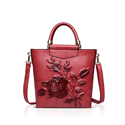 NICOLE Brow à Main à en fourre Cuir Dames Vintage Femmes Impression DORIS Rouge Dimensions PU Sacs A Tout à Sac en Main Sac Trois amp; bandoulière AFrxA7qg
