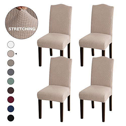Turquoize Stretch Dining Chair Slipcovers Jacquard Removable Washable Kitchen Parson Chair Protector Cover Seat Slipcover for Hotel,Dining Room,Ceremony,Banquet Wedding Party Set of 4, Khaki
