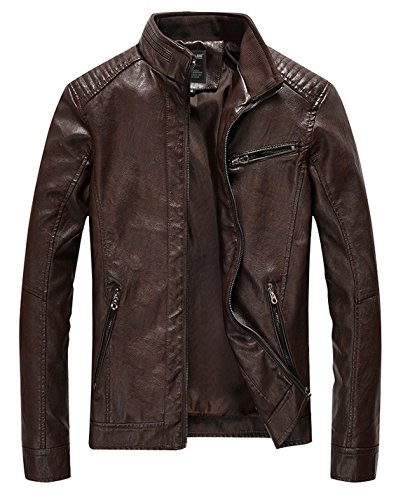 HOWON Men's Vintage Stand Collar Pu Leather Jacket Coffee M (Pu Solid Stand Collar)