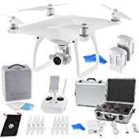 DJI Phantom 4 Quadcopter with 4K Camera (Transmitter Included) - ULTIMATE Bundle with DJI Aluminum Case + DJI 100W 5350mAh Intelligent Flight Battery + DigitalAndMore Drone Cleaning Cloth