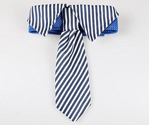 (ANIAC Formal Stripe Pattern Collar Neck Bow Tie Costume for Big Pet Dog (S, Blue Stripes))