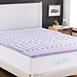 1 Gel Mattress Topper LUCID 2 Inch 5 Zone Lavender Memory Foam Mattress Topper - Queen