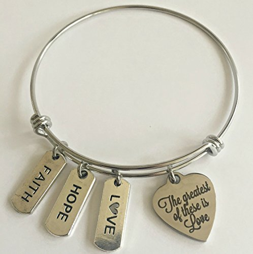 Bible Verses Teachers - Faith Hope Love The Greatest of These is Love Bible Verse Charm Bracelet | First Corinthians 13:13