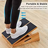 Professional Wooden Slant Board, Adjustable Incline Board and Calf Stretcher, Stretch Board, Extra Side Handle Design for Portability, 16 X 12.5 Inches, 5 Positions