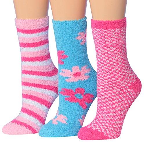 Tipi Toe Womens 3-Pairs Funky Colorful Premium Soft Warm Microfiber Winter Soft Fuzzy Crew Socks, (sock size 9-11) Fits shoe size 6-9, FZ05-A