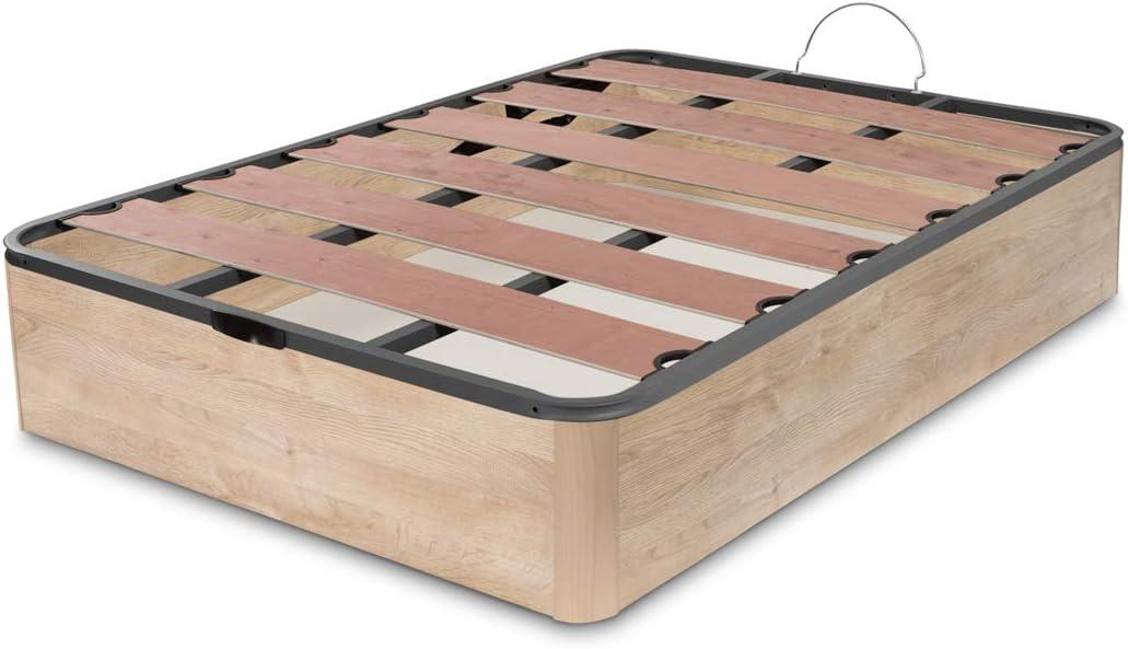Dormidán - Canapé abatible Oferta, Gran Capacidad Esquinas Redondeada, Tapa somier con Lamas vaporizadas y Tacos de Polietileno (150 x 190 cm, Roble)
