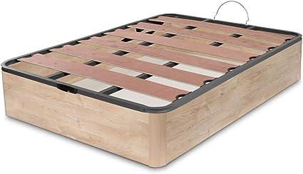 Dormidán - Canapé abatible Oferta, Gran Capacidad Esquinas Redondeada, Tapa somier con Lamas vaporizadas y Tacos de Polietileno (135 x 190 cm, Roble)