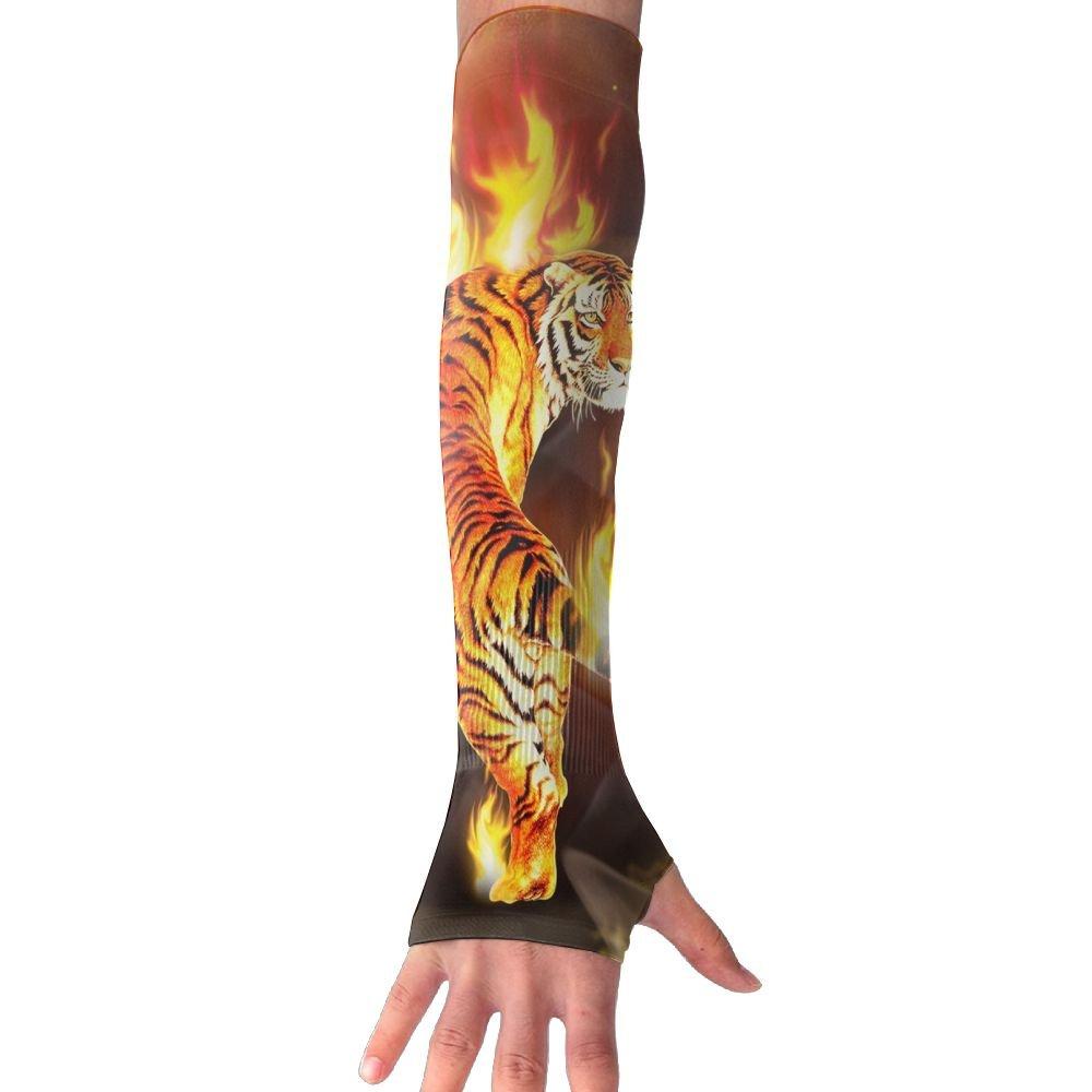 MASDUIH Fire Tiger Gloves Anti-uv Sun Protection Long Fingerless Arm Cooling Sleeve For Men And Women
