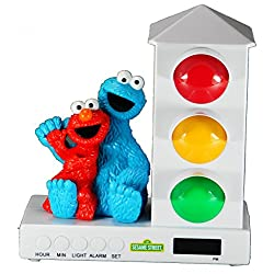 It's About Time Stoplight Sleep Enhancing Alarm Clock for Kids, Elmo & Cookie Monster