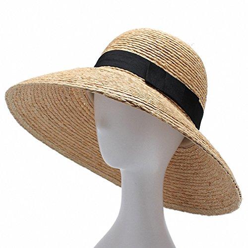Women Sun Hat With a Wide Brim Ladies Elegant Natural Raffia Straw Hats UV Protection Beach Hat as photo -