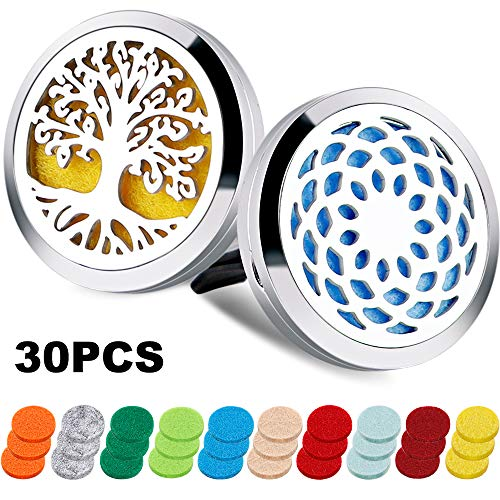 2PCS Aromatherapy Essential Oil Car Diffuser Locket with 30 Refill Pads