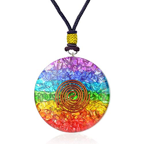 (7 Chakra Rainbow Orgone Crystal pendant for Strengthen Immune System - Heart - Self Confidence - Positivity- Emotional Body Purification)
