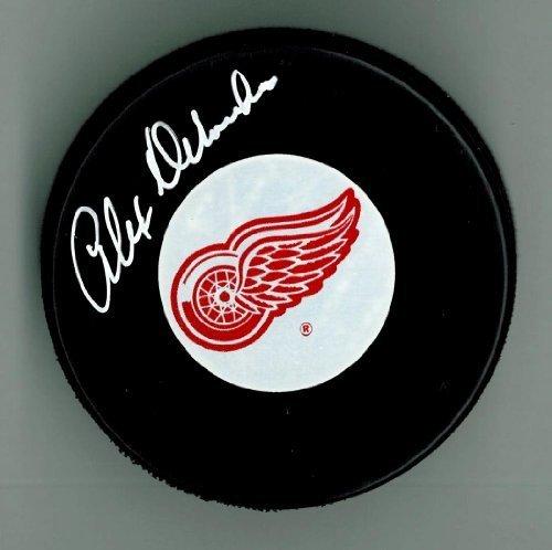 Alex-Delvecchio-Autographed-Detroit-Red-Wings-Puck