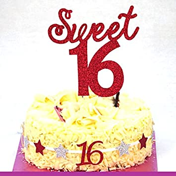 Sweet 16 Cake Topper 16th Birthday Cake Topper Glittery Dark
