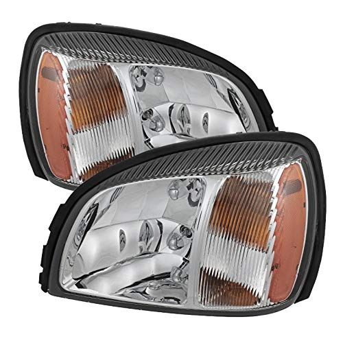 (For 2000-2005 Deville Headlights Front Lamps LH+RH Light Bulbs Included Pair Left+Right 2001 2002 2003)
